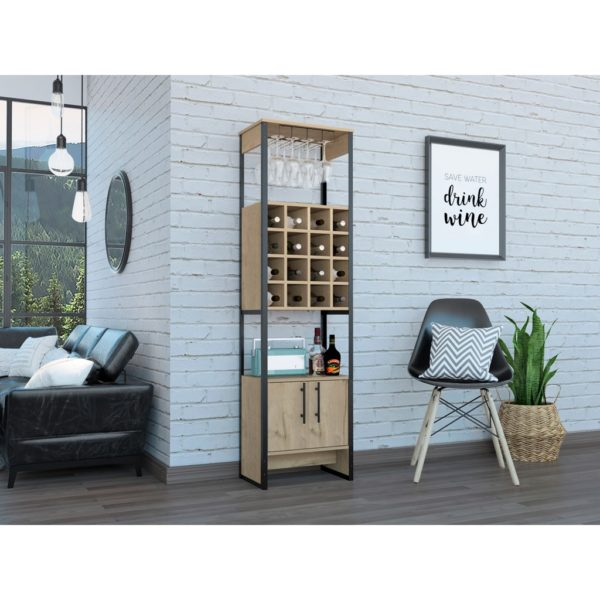Bel Air Wood Effect Tall Drinks Cabinet with Wine Rack in a Bleached Pine Wood Finish