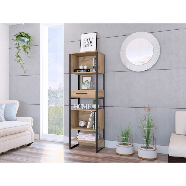 Bel Air Wood Effect Tall Slimline Bookcase Display Unit with Drawer in a Bleached Pine Wood Finish