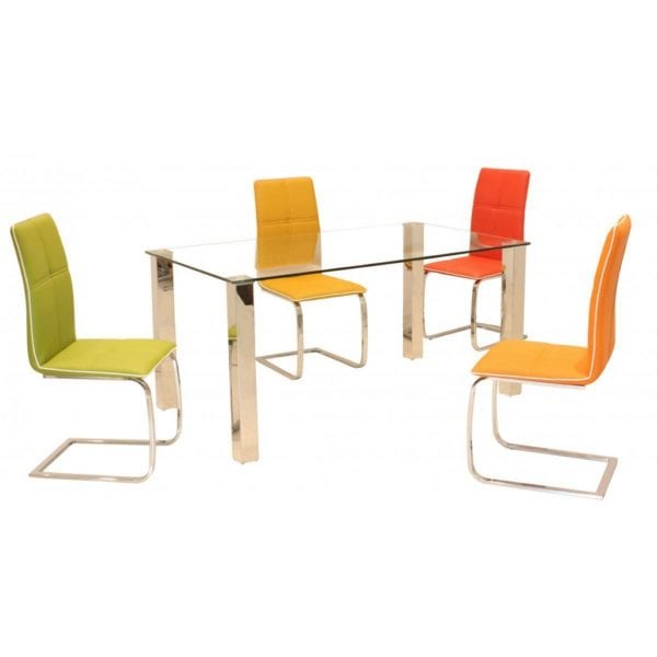 Valley Dining Chair in Faux Leather & Chrome - Set of 2 - Available in a Choice of Colours