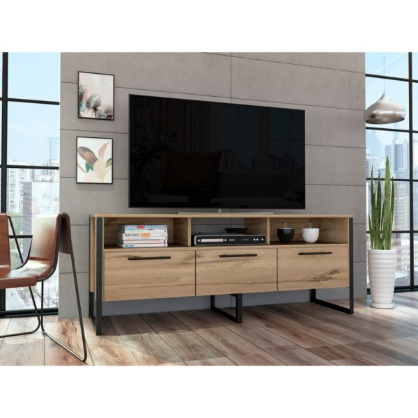 Bel Air Wood Effect TV Media Cabinet with Industrial Style Black Metal Frame in a Bleached Pine Wood Finish