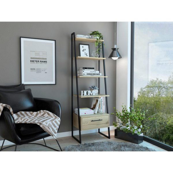 Bel Air Wood Effect Industrial Style Ladder Style Shelving Display Unit with Bleached Pine Wood Finish