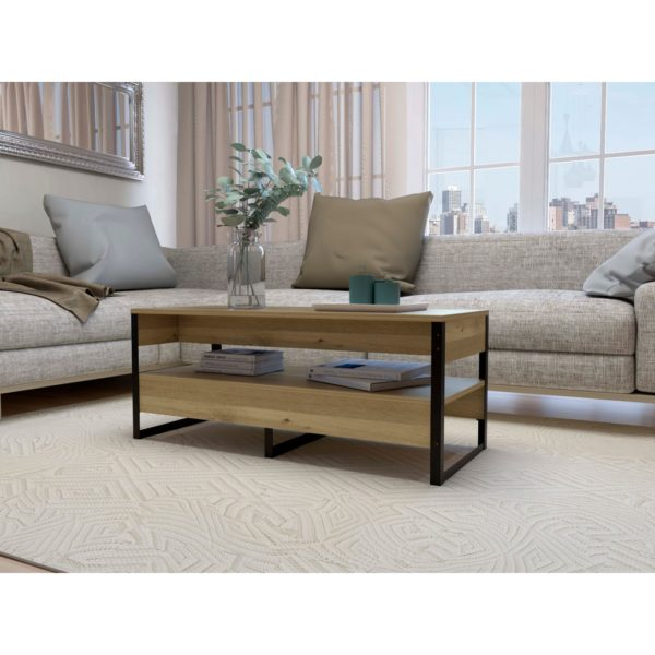 Bel Air Wood Effect Coffee Table with Shelf & Black Industrial Style Metal Frame in Bleached Pine Wood Finish