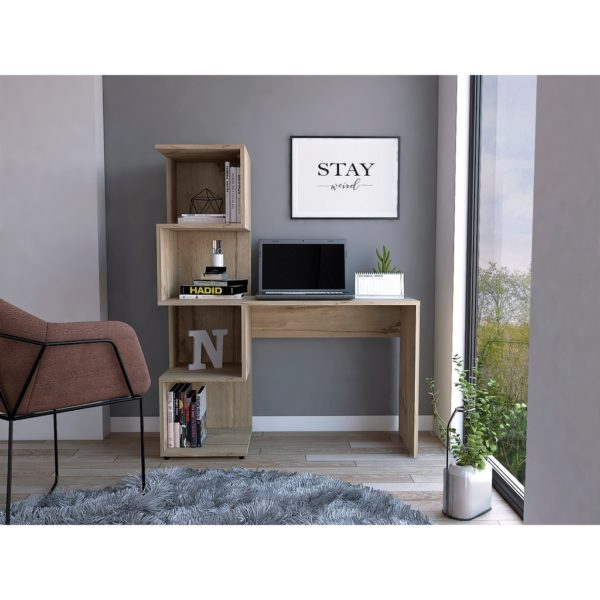 Bel Air Wood Effect Desk with Box Shelving in a Bleached Pine Wood Finish