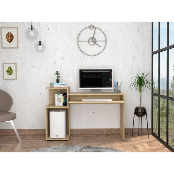 Bel Air Wood Effect Desk with Shelving in a Bleached Pine Wood Finish