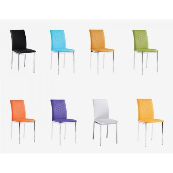 Canova Dining Chairs in Faux Leather & Chrome Legs - Set of 4 - Available in a Choice of Colours