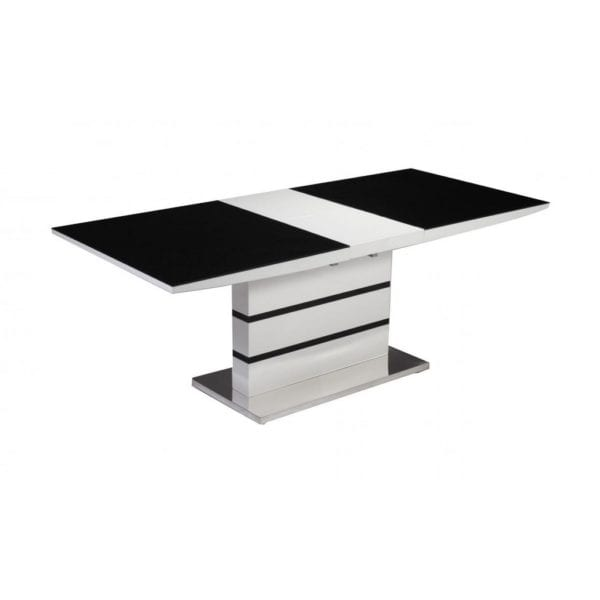 Althoff Extending Dining Table with Black Glass Top & High Gloss Frame