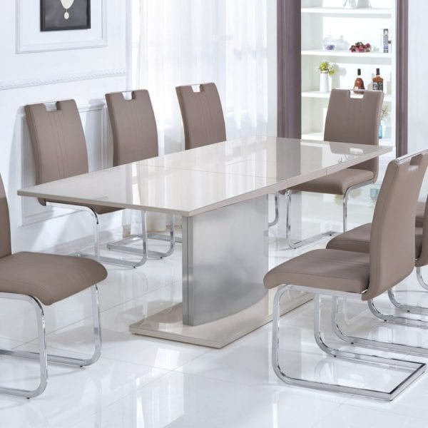 Rethel Extending Dining Kitchen Table in Champagne High Gloss