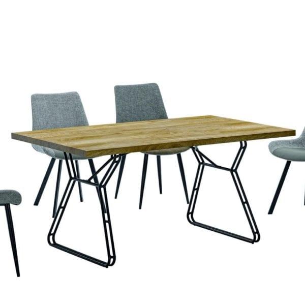 Chandler Dining Kitchen Table in Oak Effect & Black Legs