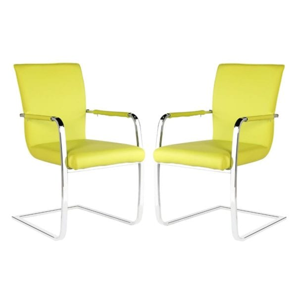 Kodiak Modern Dining Chairs with Chrome Arms & Base - Set of 2 - Available in a Choice of Colours