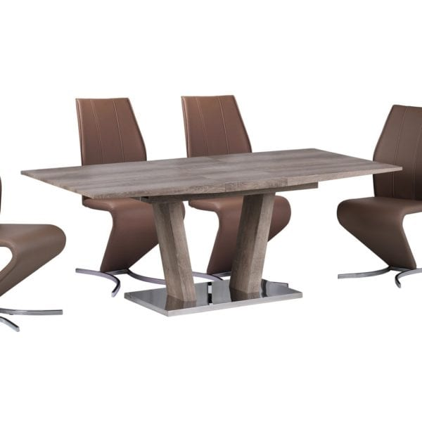 Gennari Extending Dining Table in Natural Oak Effect & Stainless Steel