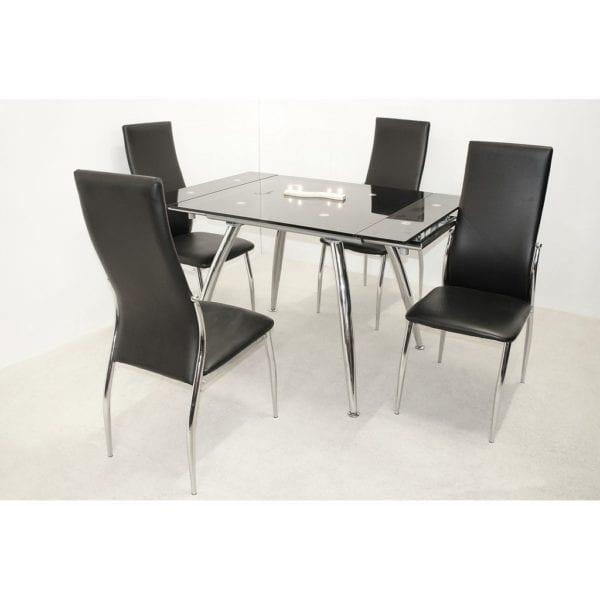 Masek Extending Dining Kitchen Table in Black Glass & Chrome