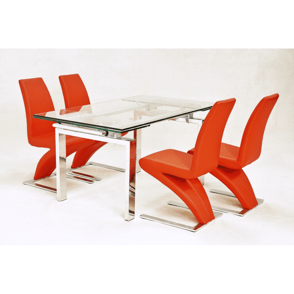 Crayer Rectangular Glass Top Extending Dining Kitchen Table