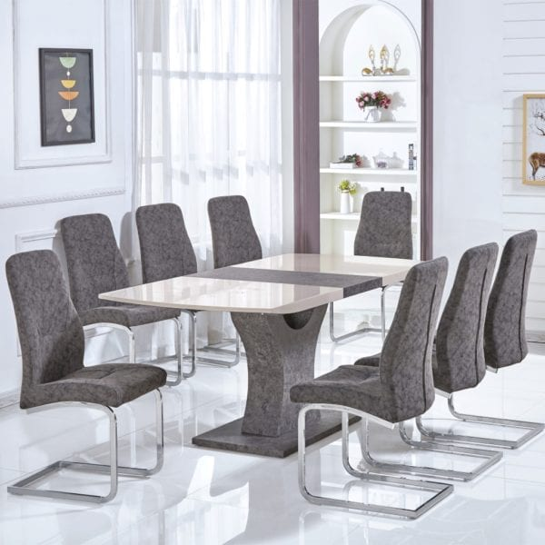 Beaconsfield Extending Dining Table in Cream Gloss & Natural Stone Effect