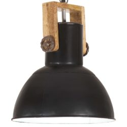 Small Industrial Style Solid Wood & Metal Saucer Hanging Light - Available in a Choice of Colours