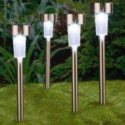 4 Stainless Steel Post Style Solar LED Garden Lights